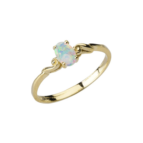 Dainty Yellow Gold Elegant Swirled Opal Solitaire Ring