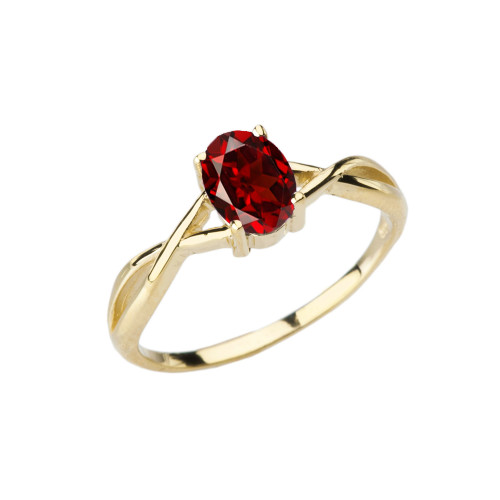 Dainty Yellow Gold Infinity Design Garnet (LCG) Solitaire Ring