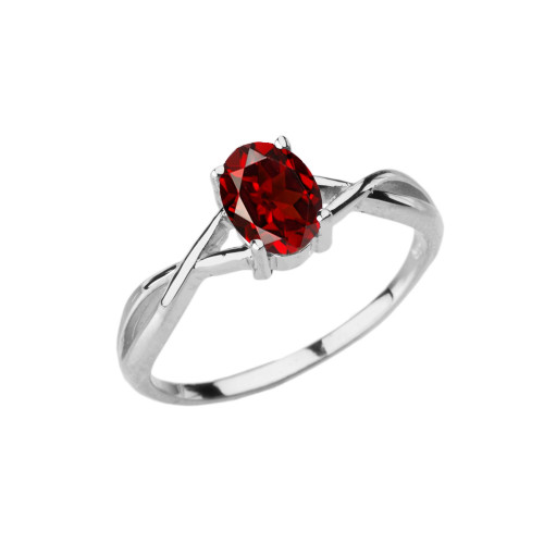 Dainty White Gold Infinity Design Garnet (LCG) Solitaire Ring