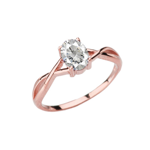 Dainty Rose Gold Infinity Design Cubic Zirconia (C.Z) Solitaire Ring
