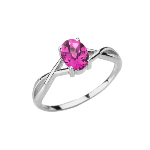 Dainty White Gold Infinity Design Alexandrite (LCAL) Solitaire Ring