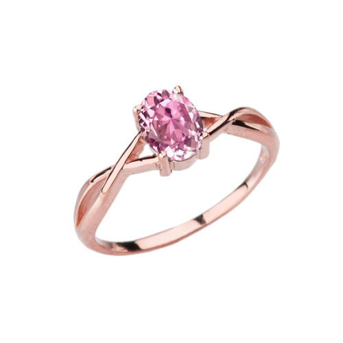 Dainty Rose Gold Infinity Design Pink Cubic Zirconia (PCZ) Solitaire Ring