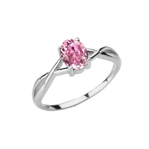 Dainty White Gold Infinity Design Pink Cubic Zirconia (PCZ) Solitaire Ring