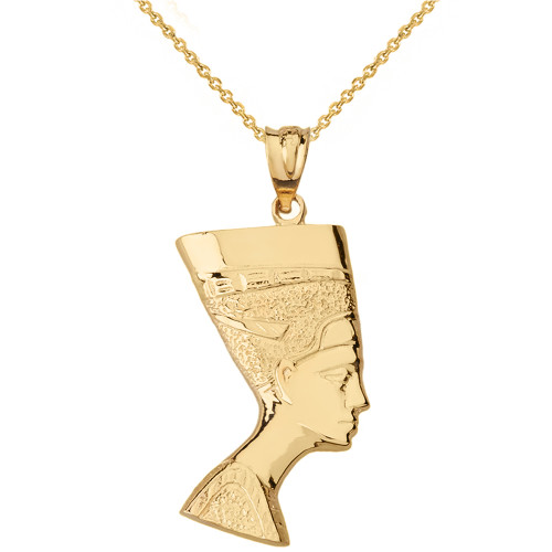Solid Genuine Yellow Gold Egyptian Queen Statue Nefertiti Bust Pendant Necklace