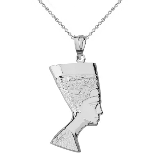 Solid Genuine White Gold Egyptian Queen Statue Nefertiti Bust Pendant Necklace