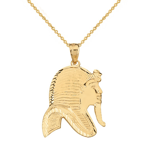Solid Genuine Yellow Gold Egyptian King Tut Profile Pendant Pendant Necklace