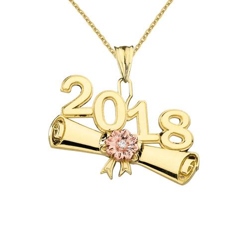 Yellow Gold Diamond Two-Tone Class of 2018 Graduation Diploma Pendant Necklace