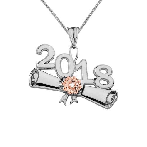 White Gold Diamond Two-Tone Class of 2018 Graduation Diploma Pendant Necklace