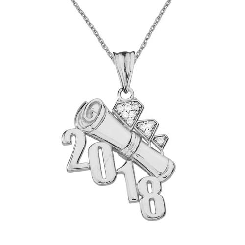 White  Gold Diamond Diagonal Class of 2018 Graduation Diploma Pendant Necklace