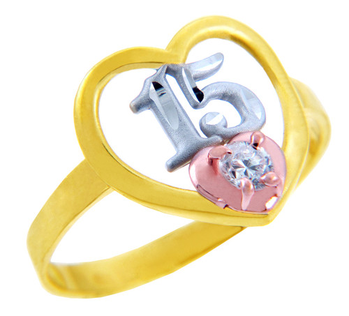 15 Años Ring- Quinceanera Heart Ring with Cubic Zirconia