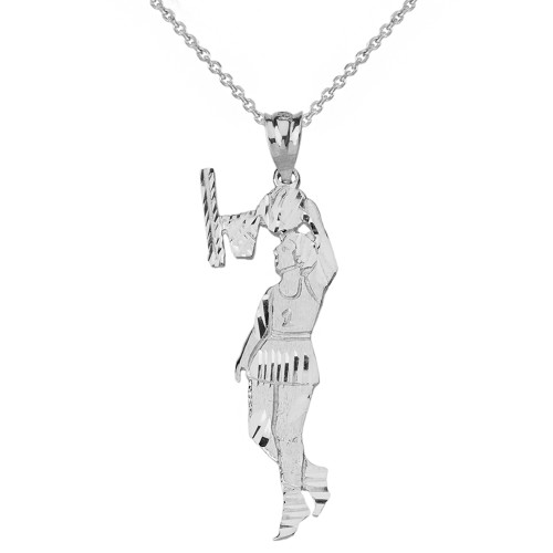 Solid Genuine White Gold Women's Basketball Pendant Necklace