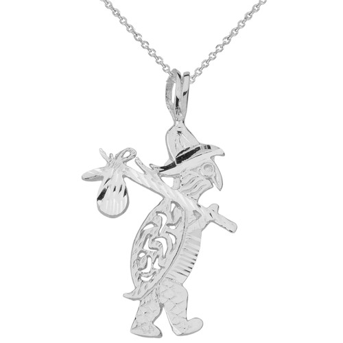 Sterling Silver Diamond Cut Traveling Turtle and Bindle Pendant Necklace