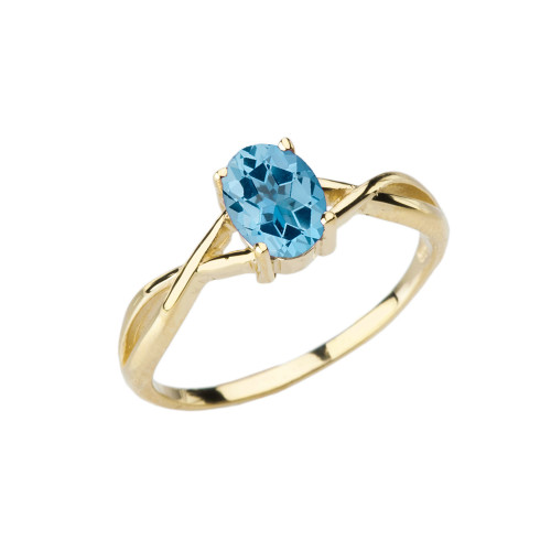 Dainty Yellow Gold Infinity Design Blue Topaz (LCBT) Solitaire Ring