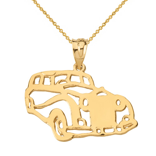 Solid Genuine Yellow Gold Classic Car Pendant Necklace