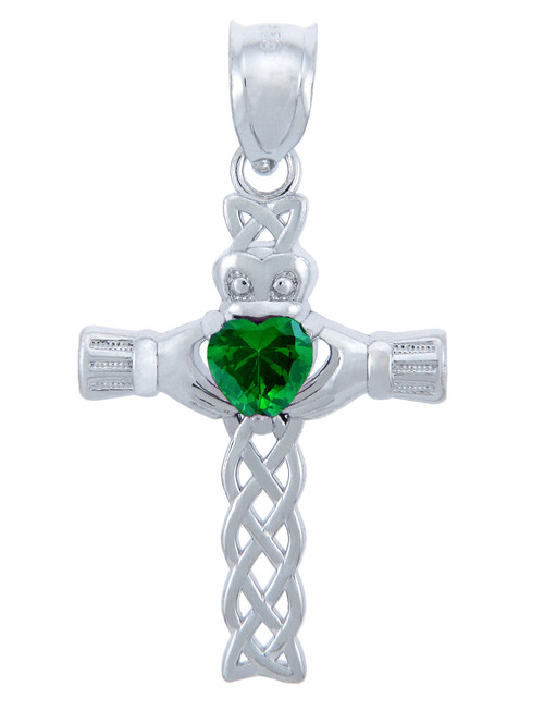 925 Sterling Silver Celtic Cross Green CZ Heart Pendant with Emerald