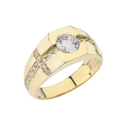 Mens Yellow Gold Diamond Cross Ring with White Topaz Center Stone