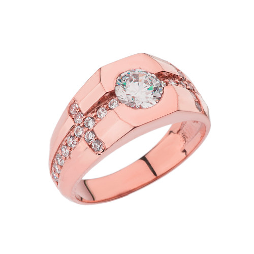 Mens Rose Gold Diamond Cross Ring with White Topaz Center Stone