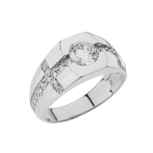Mens White Gold Diamond Cross Ring with White Topaz Center Stone