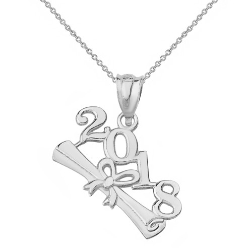 Solid White Gold Class of 2018  Diploma Pendant Necklace