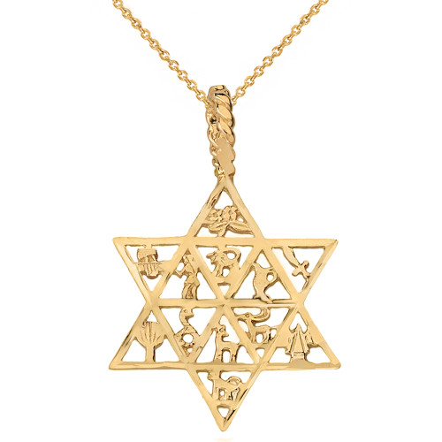 Solid Yellow Gold Jewish Star of David Charm 12 Tribes of Israel Pendant Necklace
