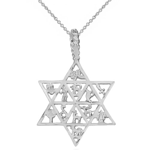 Sterling Silver Jewish Star of David Charm 12 Tribes of Israel Pendant Necklace