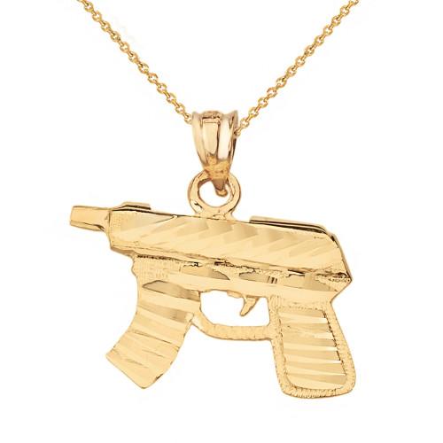 Solid Yellow Gold Diamond Cut Gun Rifle Pendant Necklace