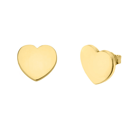 Solid Yellow Gold Simple Heart Earrings