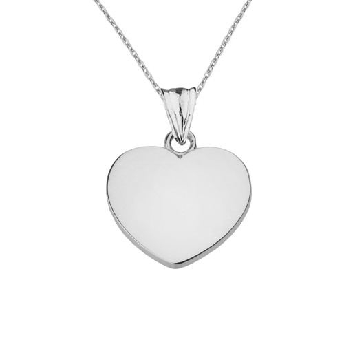 Solid White Gold Simple Heart Pendant Necklace