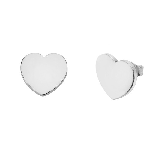 Solid White Gold Simple Heart Earrings