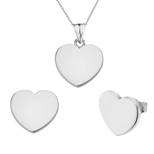 Solid White Gold Simple Heart Pendant Necklace Set