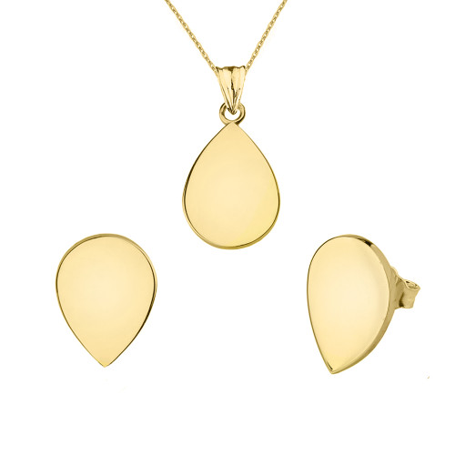 Solid Yellow Gold Simple Tear Drop Pendant Necklace Set