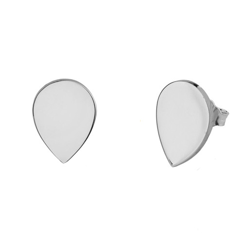 Solid White Gold Simple Tear Drop Earrings