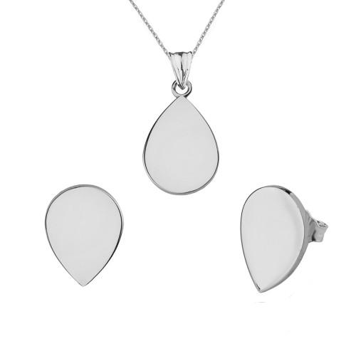 Solid White Gold Simple Tear Drop Pendant Necklace Set