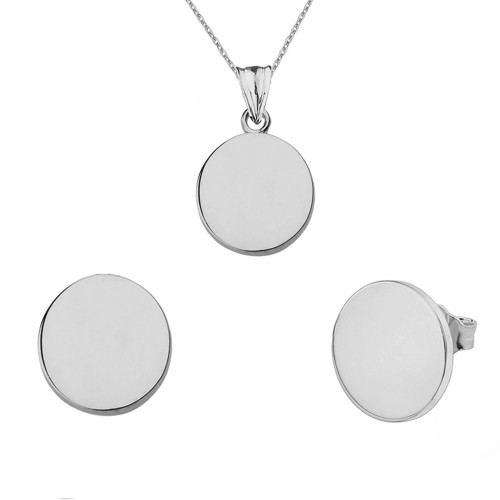 Solid White Gold Simple Round Pendant Necklace Set