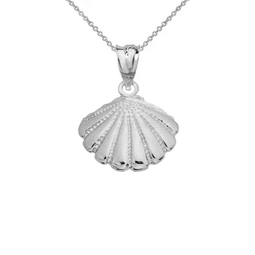 Cockle Sea Shell in White Gold