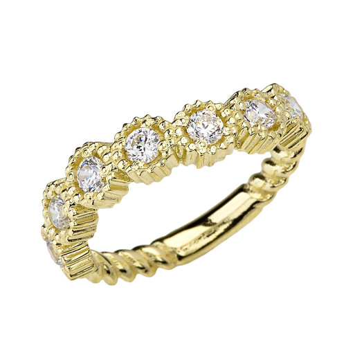 Yellow Gold Bold Curved Cubic Zirconia Rope Ring