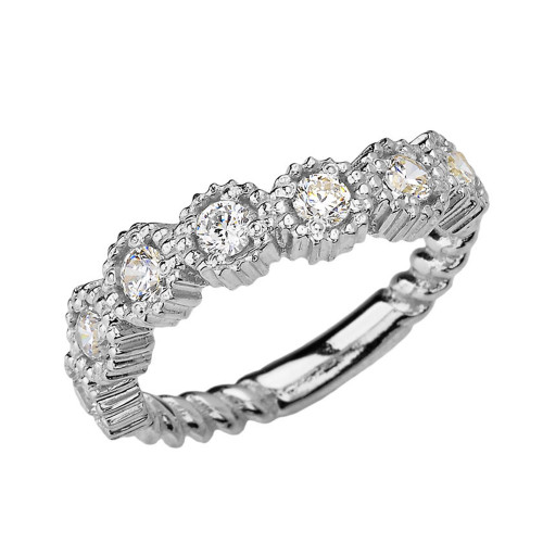 White Gold Bold Curved Cubic Zirconia Rope Ring