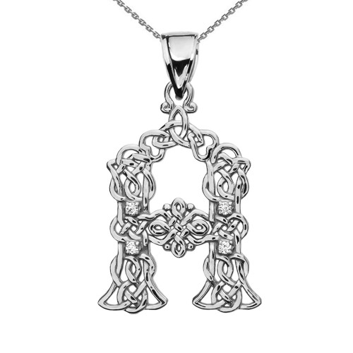 """A"" Initial In Celtic Knot Pattern Sterling Silver Pendant Necklace With CZ"