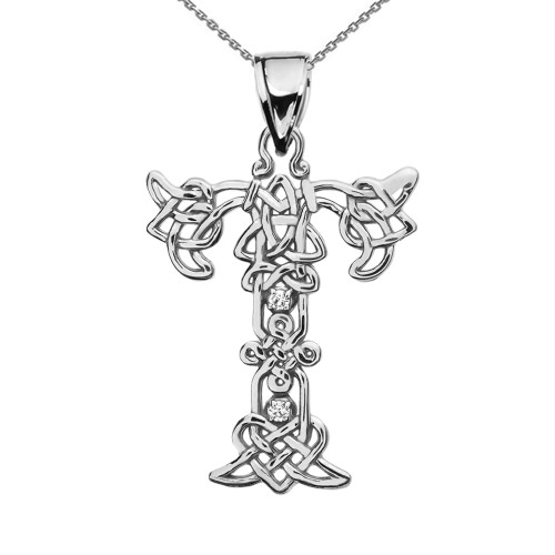 """T"" Initial In Celtic Knot Pattern Sterling Silver Pendant Necklace With CZ"