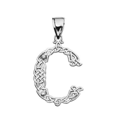 """""""C"""" Initial In Celtic Knot Pattern Sterling Silver Pendant Necklace With CZ"""