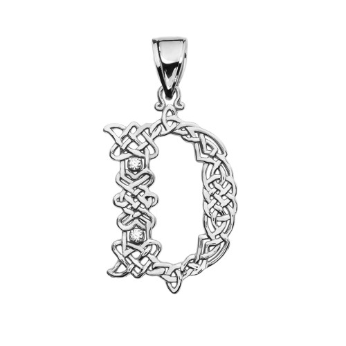 """""""D"""" Initial In Celtic Knot Pattern Sterling Silver Pendant Necklace With CZ"""