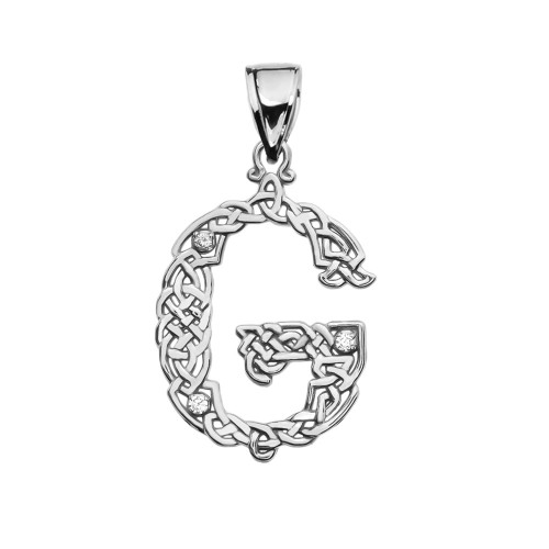 """""""G"""" Initial In Celtic Knot Pattern Sterling Silver Pendant Necklace With CZ"""