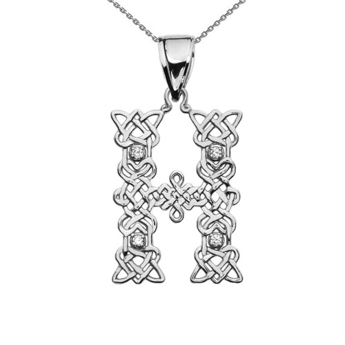 """""""H"""" Initial In Celtic Knot Pattern Sterling Silver Pendant Necklace With CZ"""