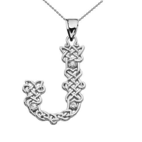 """J"" Initial In Celtic Knot Pattern Sterling Silver Pendant Necklace With CZ"