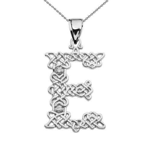 """""""E"""" Initial In Celtic Knot Pattern Sterling Silver Pendant Necklace With CZ"""