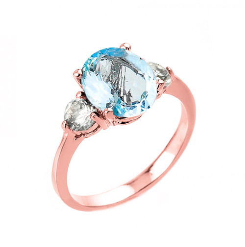 Rose Gold Genuine Aquamarine and White Topaz Engagement Ring