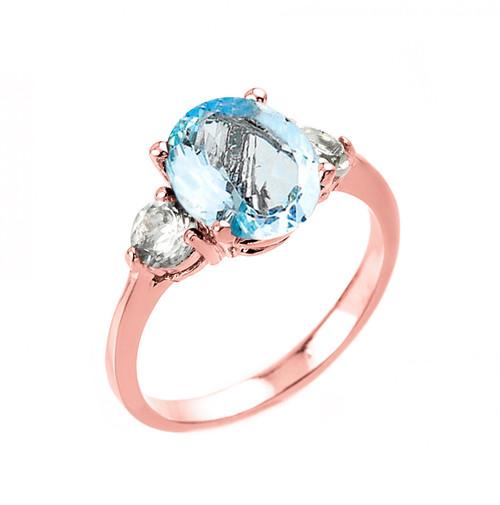 Rose Gold Genuine Aquamarine and White Topaz Engagement Ring