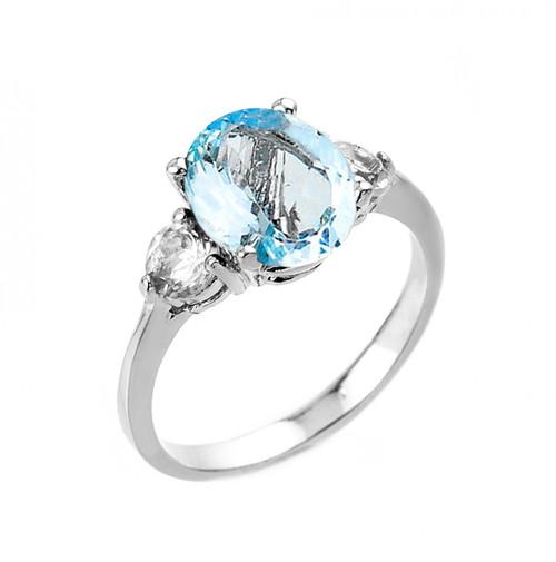 White Gold Genuine Aquamarine and White Topaz Engagement Ring