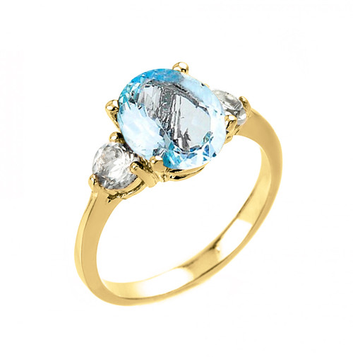 Yellow Gold Genuine Aquamarine and White Topaz Engagement Ring
