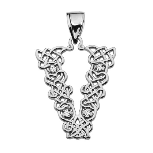 """V"" Initial In Celtic Knot Pattern Sterling Silver Pendant Necklace With CZ"